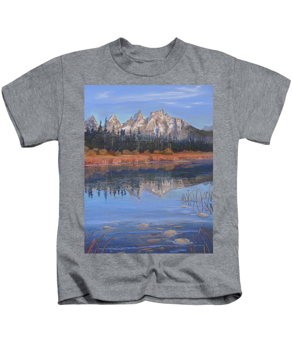 Grand Tetons Kids T-Shirt featuring the pastel Isn't It Grand by Heather Coen