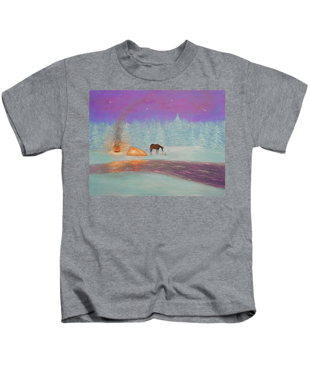 Snow Kids T-Shirt featuring the painting Isolation by Ken Figurski