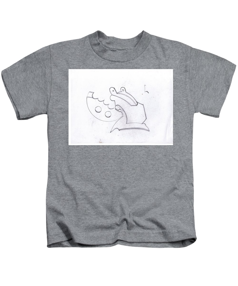 Kids T-Shirt featuring the drawing Is It by Costaboo Boo