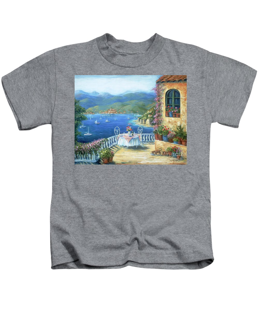 Cat Kids T-Shirt featuring the painting Italian Lunch On The Terrace by Marilyn Dunlap