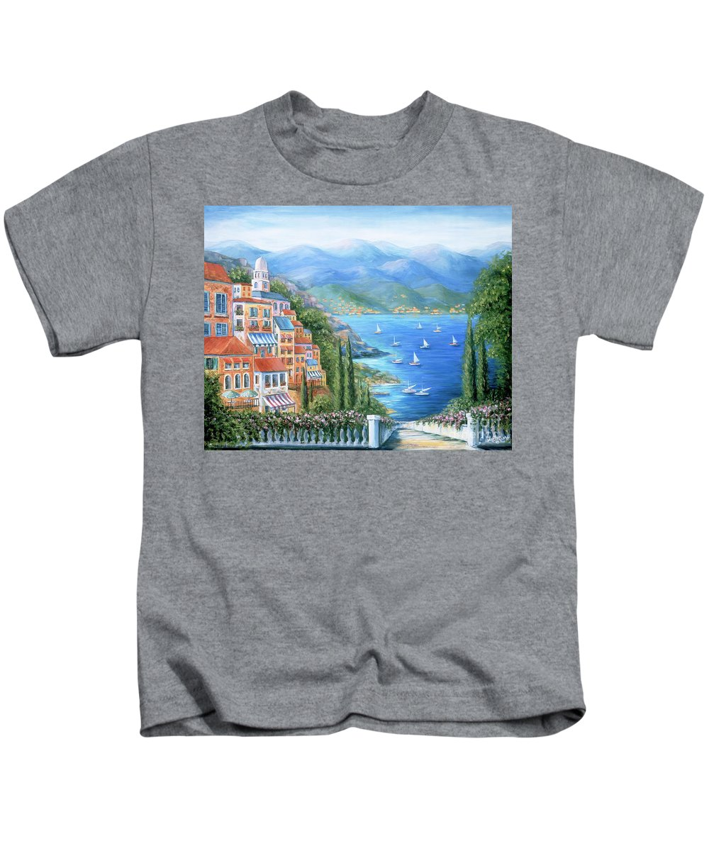 Europe Kids T-Shirt featuring the painting Italian Village By The Sea by Marilyn Dunlap