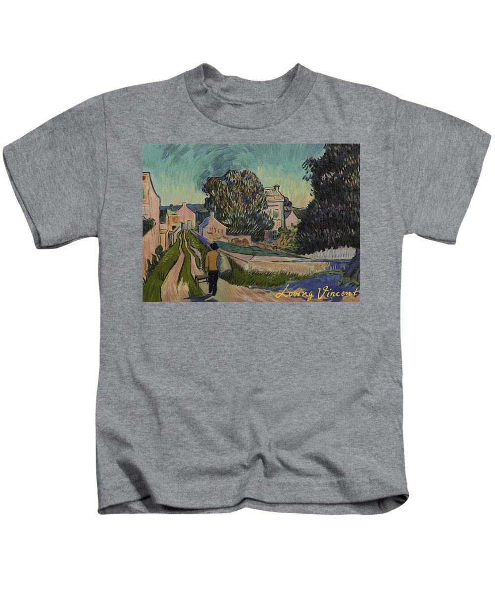 Kids T-Shirt featuring the painting I've Decided To Retrace The Path That Vincent Took With His Easel That Day by Carmen Belean