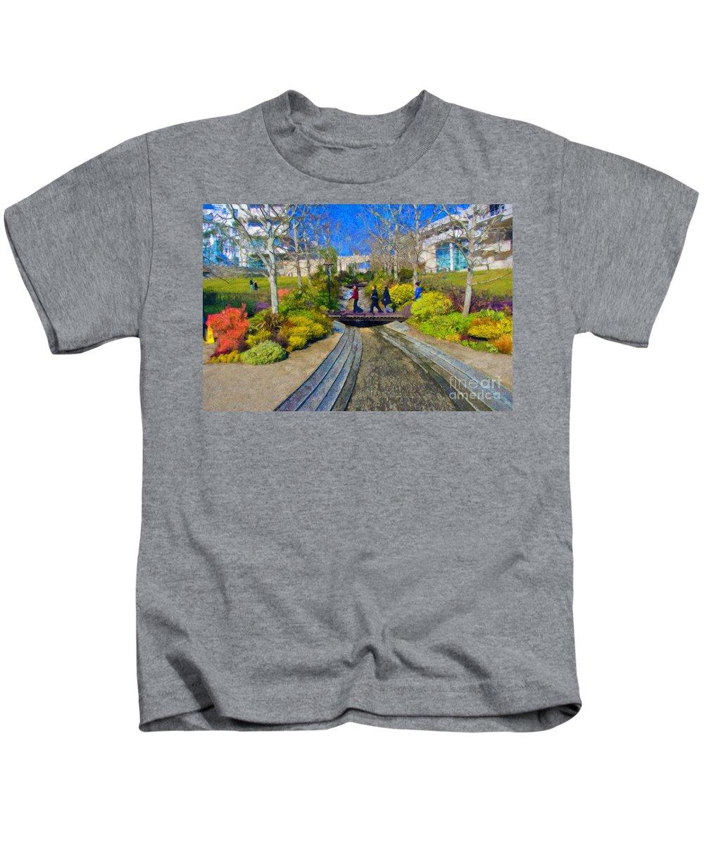 J Paul Getty Kids T-Shirt featuring the photograph J Paul Getty Museum Garden Terrace by David Zanzinger