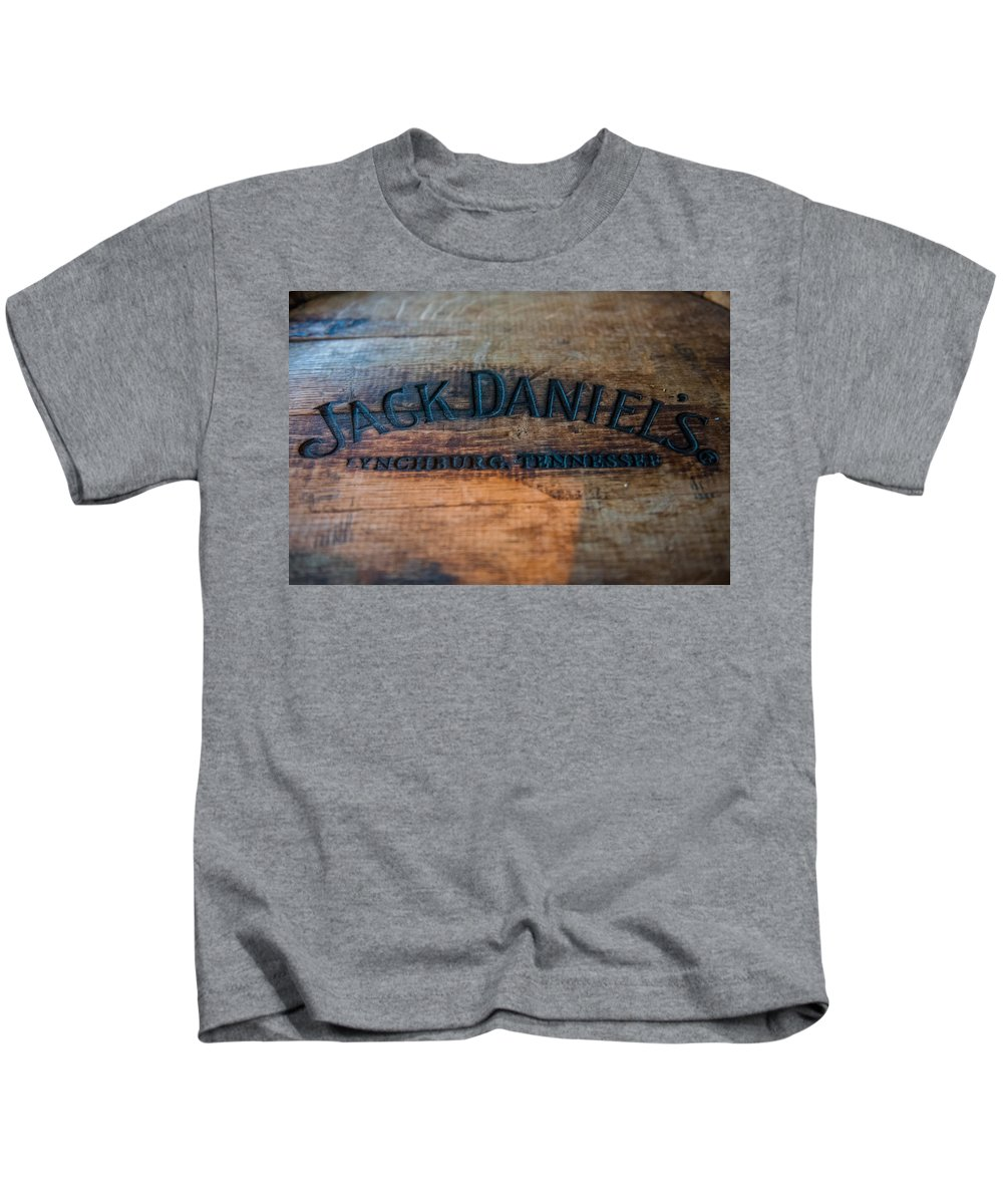 Randy Walton Kids T-Shirt featuring the photograph Jack Daniels Oak Barrel by Randy Walton