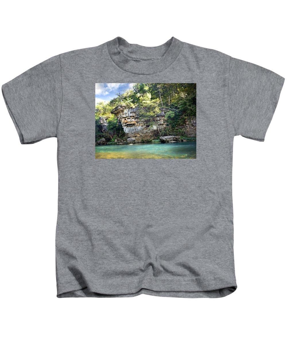 River Kids T-Shirt featuring the photograph Jacks Fork Bluff 1 by Marty Koch