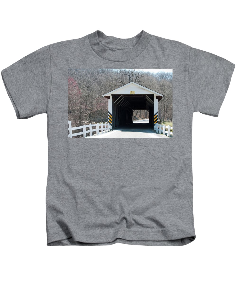 Covered Bridge Kids T-Shirt featuring the photograph Jackson Mills by David Arment