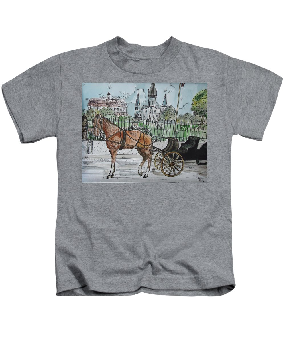 City Scape Kids T-Shirt featuring the mixed media Jackson Square by Charme Curtin
