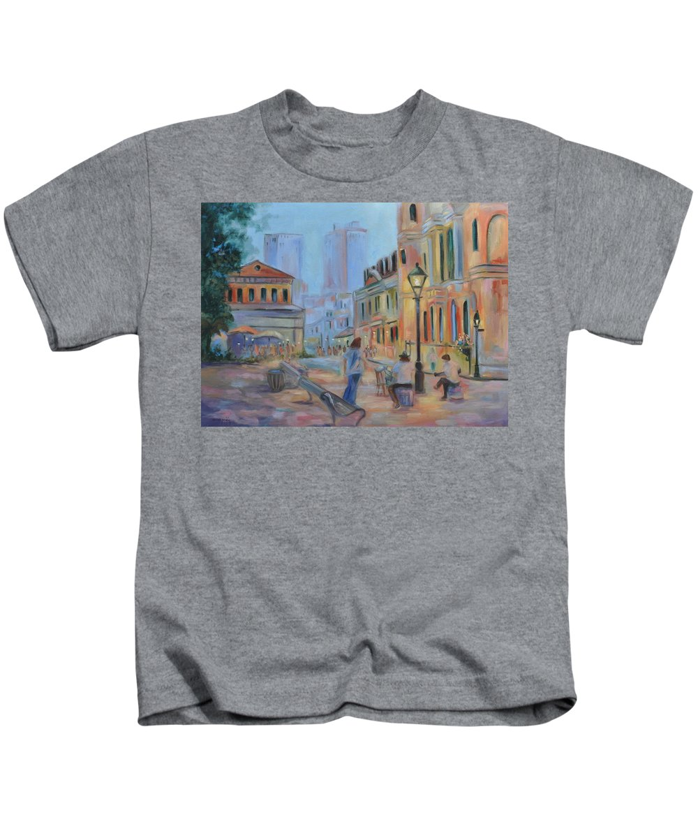 New Orleans Kids T-Shirt featuring the painting Jackson Square Musicians by Ginger Concepcion