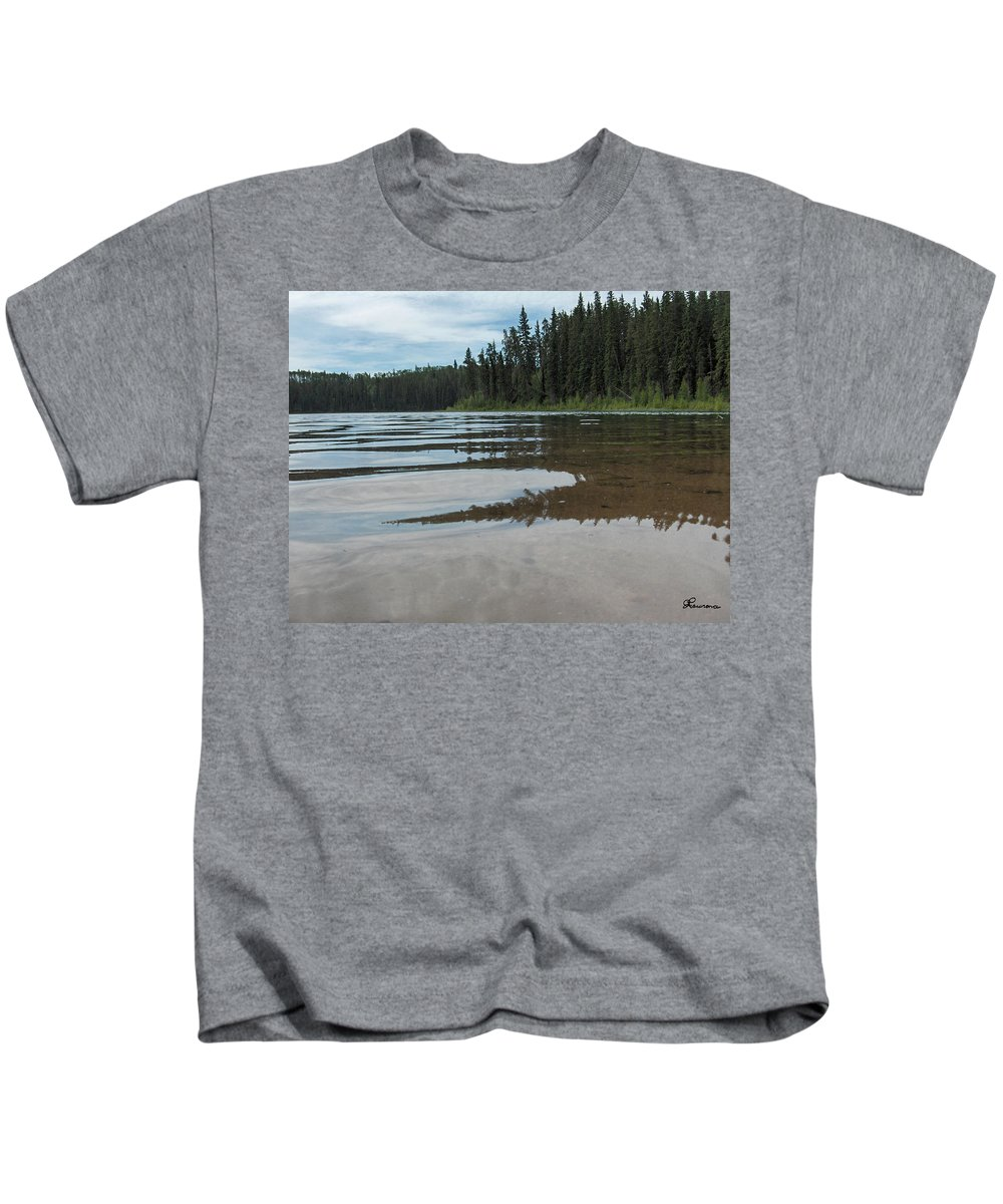 Jade Lake Piprell Lake Hanson Lake Road Northern Saskatchewan Water Clear Forest Trees Kids T-Shirt featuring the photograph Jade Lake by Andrea Lawrence