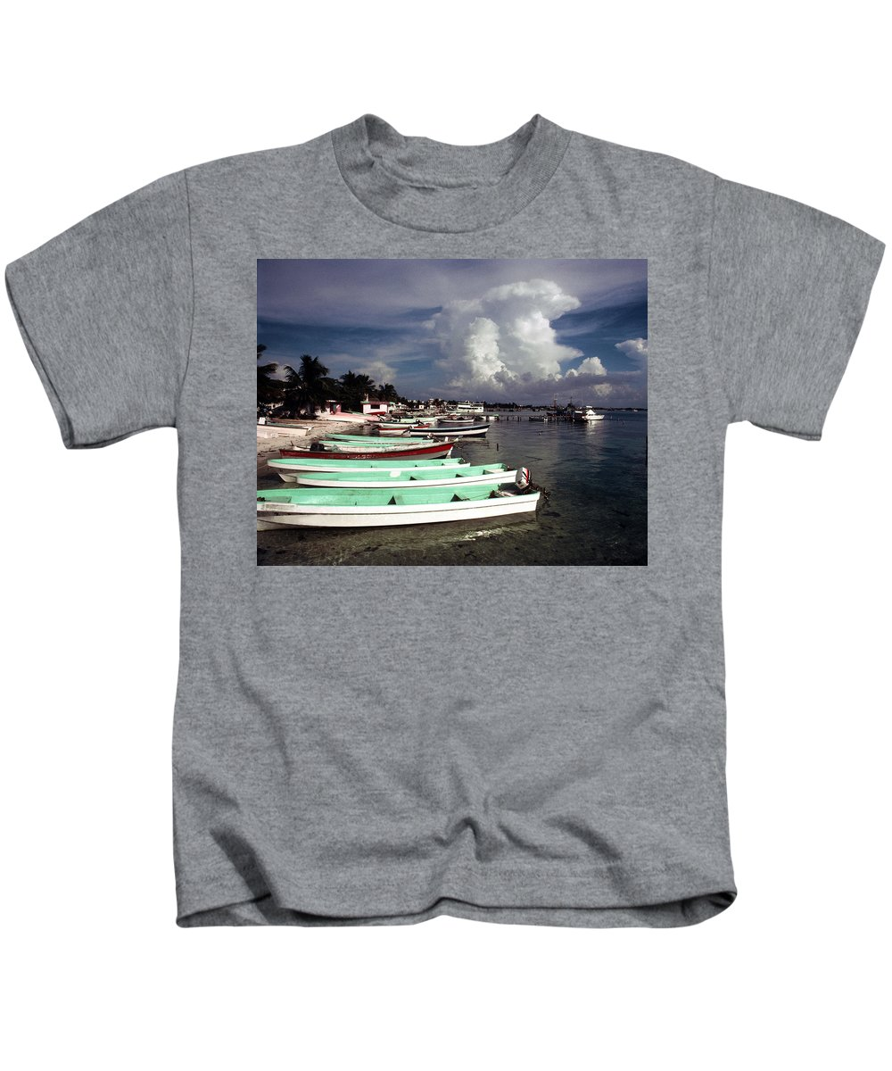 Fishing Kids T-Shirt featuring the photograph Jamaican Fishing Boats by Herman Robert