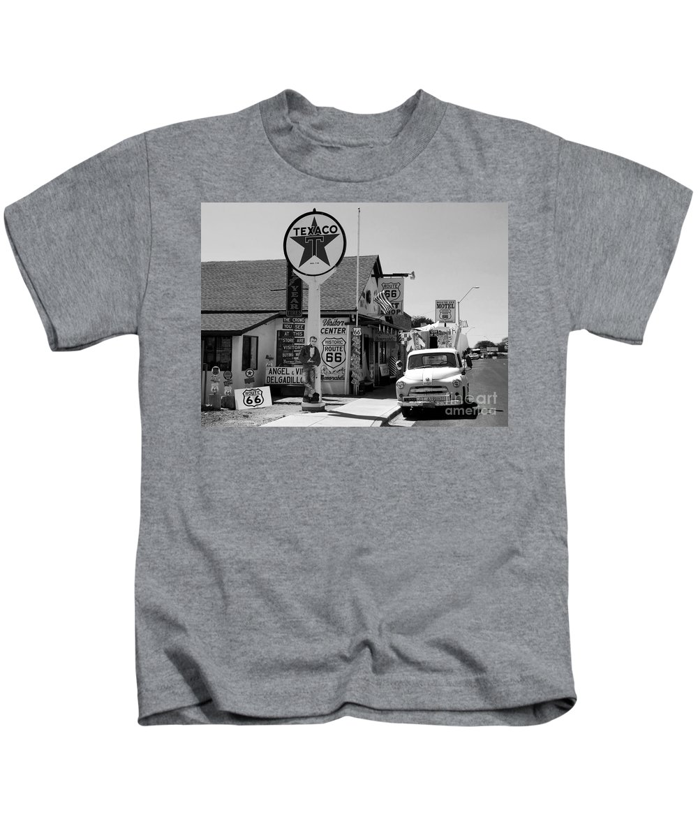 James Dean Kids T-Shirt featuring the photograph James Dean On Route 66 by David Lee Thompson