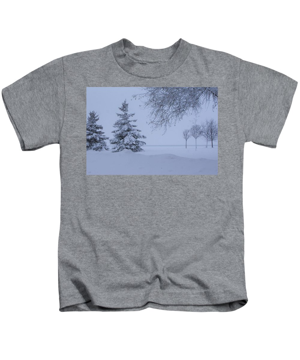 Winter Snow Trees Canada Ontario Frosty White Lake Huron Kids T-Shirt featuring the photograph January In Ontario by The Sangsters