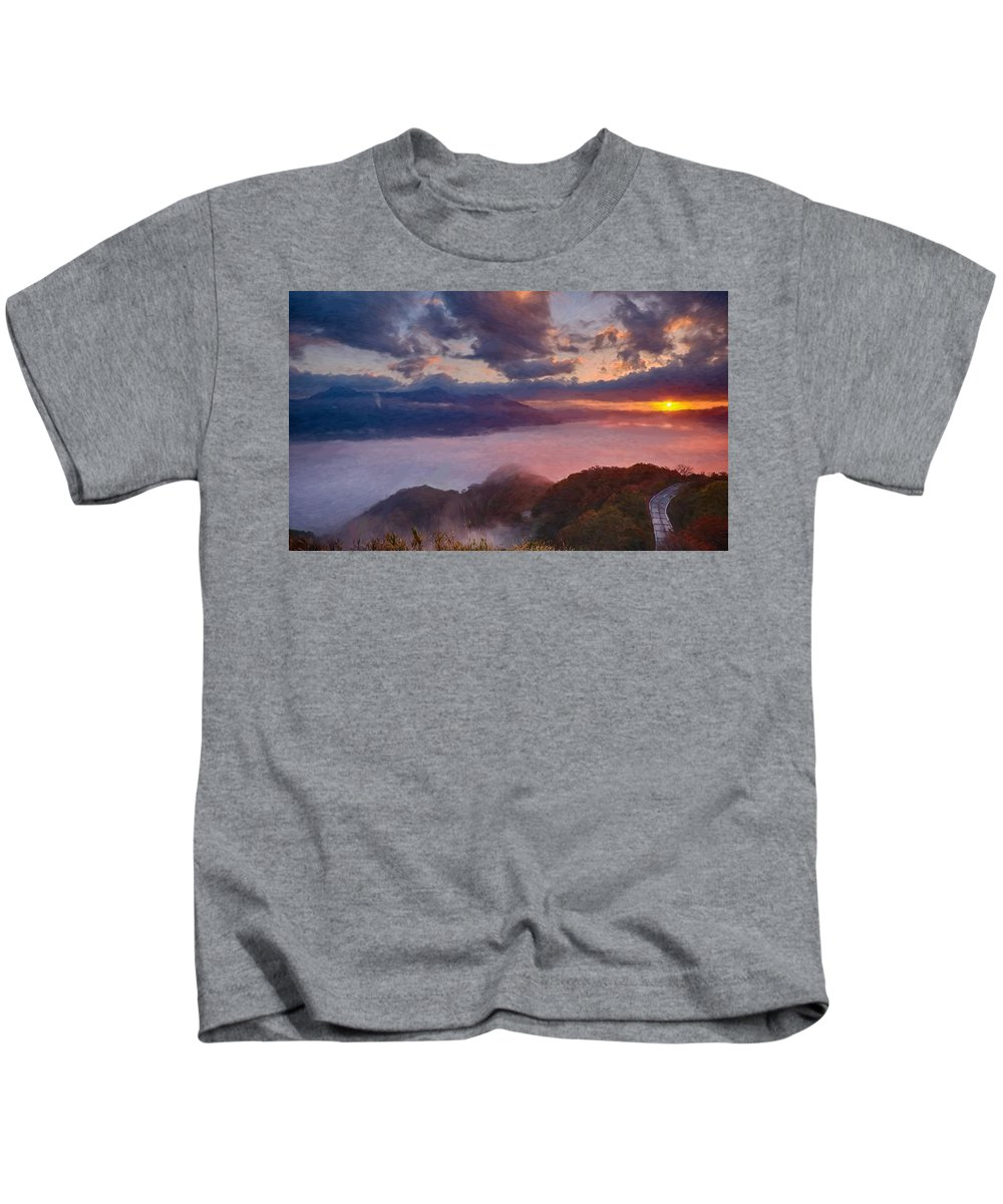 Aso Kids T-Shirt featuring the painting Japan - Id 16235-142813-4000 by S Lurk