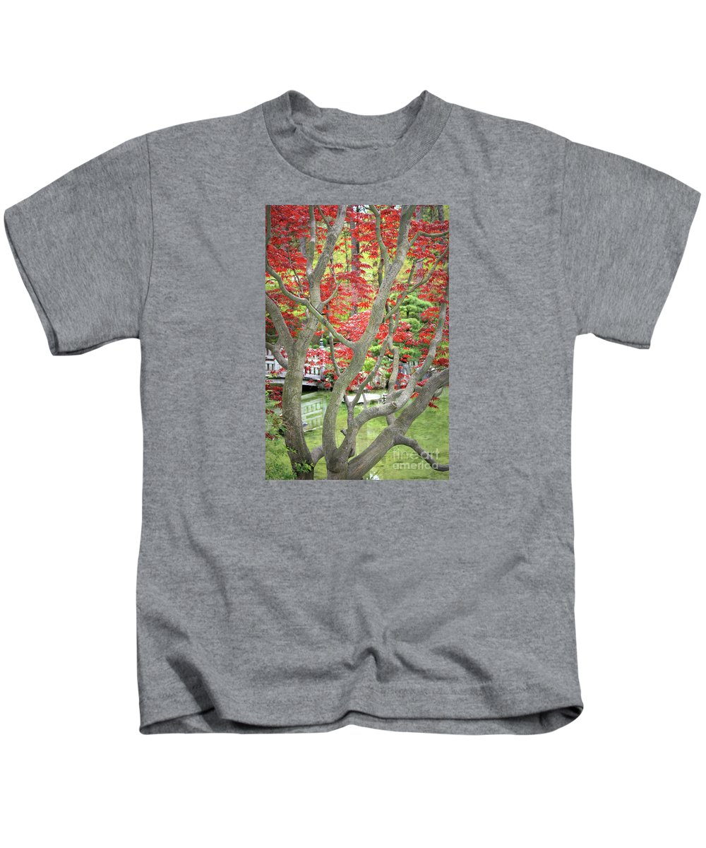 Japanese Garden Kids T-Shirt featuring the photograph Japanese Maple Tree And Pond by Carol Groenen