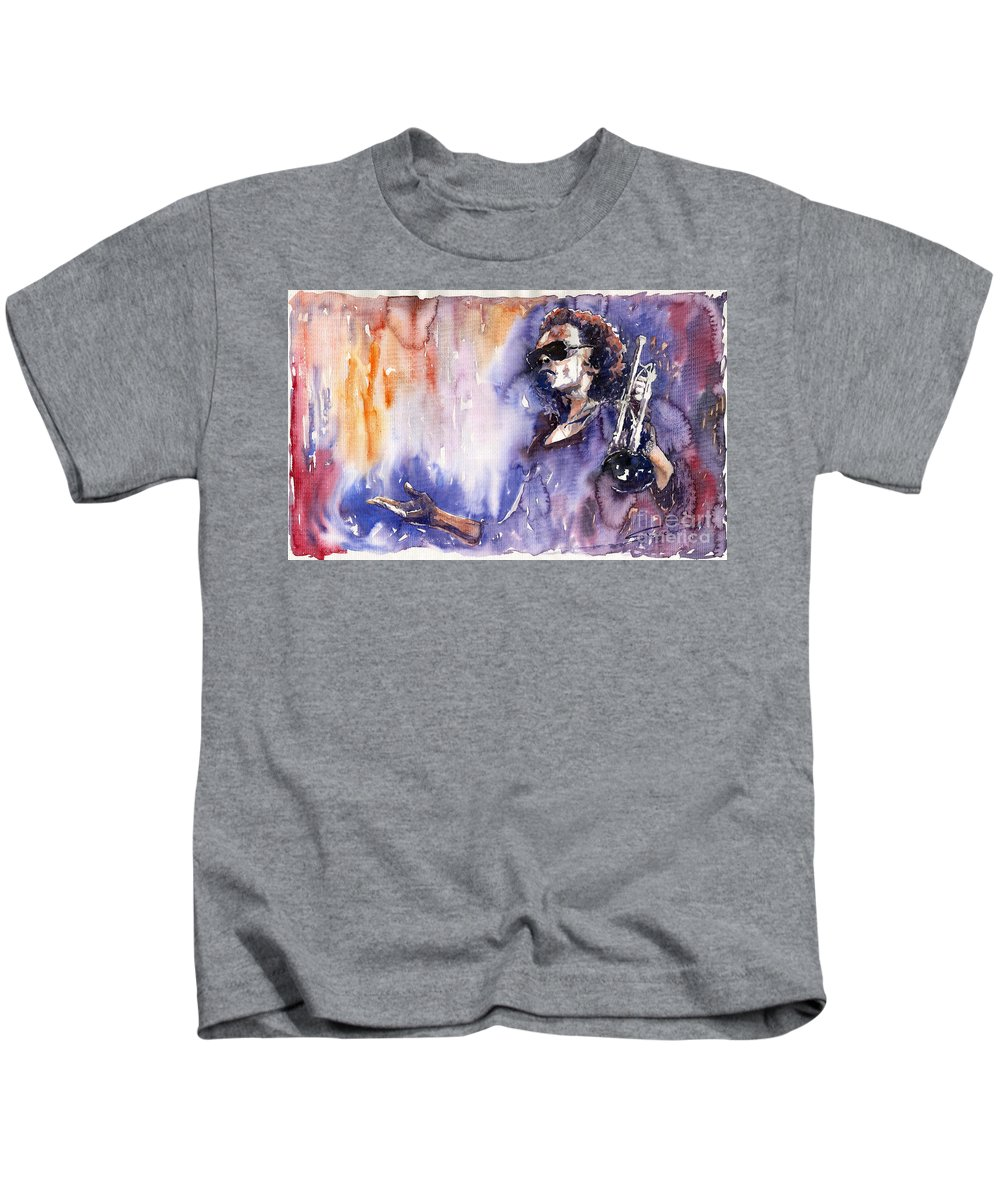 Jazz Kids T-Shirt featuring the painting Jazz Miles Davis 14 by Yuriy Shevchuk