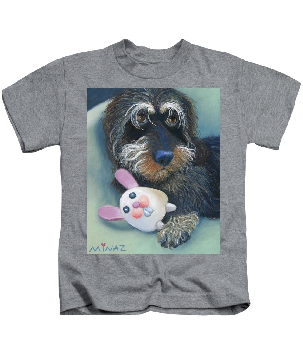 Dog Kids T-Shirt featuring the painting Jeez Donot Touch Ma Squeez by Minaz Jantz