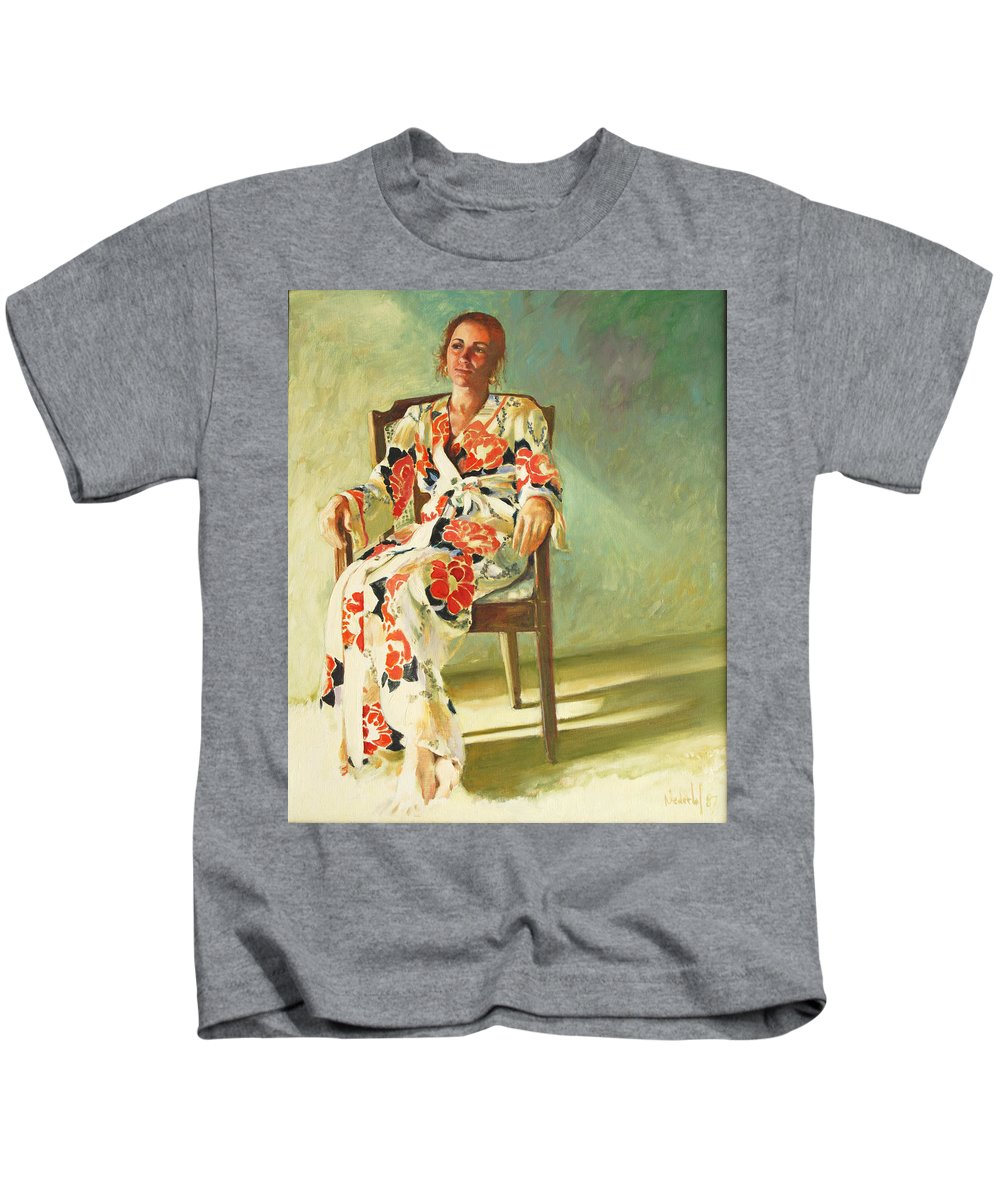 Girl Kids T-Shirt featuring the painting Jess by Rick Nederlof