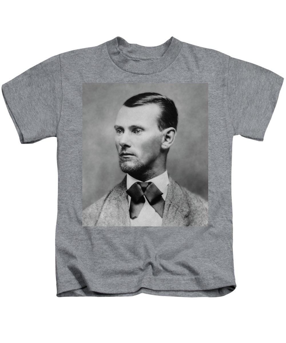 jesse James Kids T-Shirt featuring the photograph Jesse James -- American Outlaw by Daniel Hagerman
