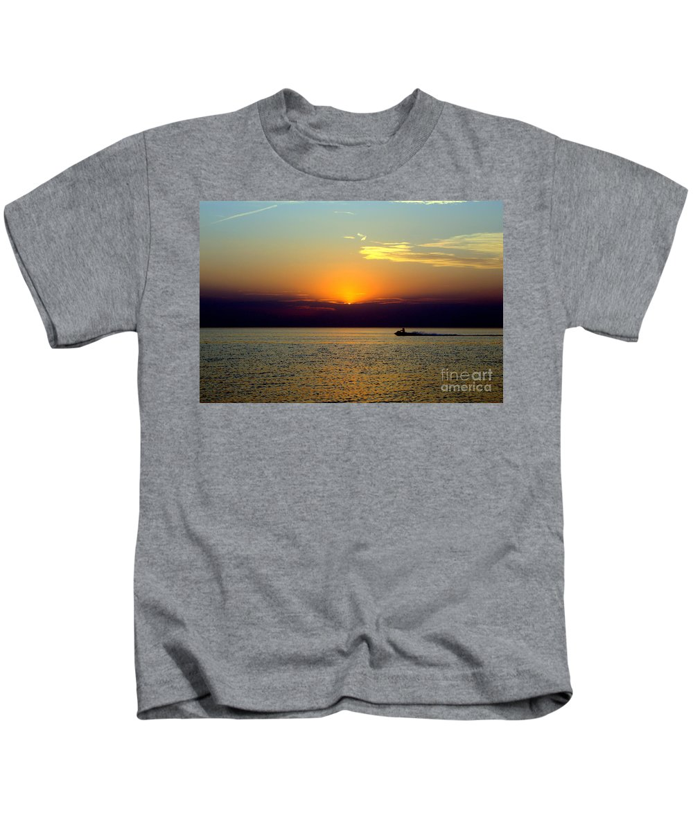 Grand Bend Kids T-Shirt featuring the photograph Jet Ski Reflection by John Scatcherd