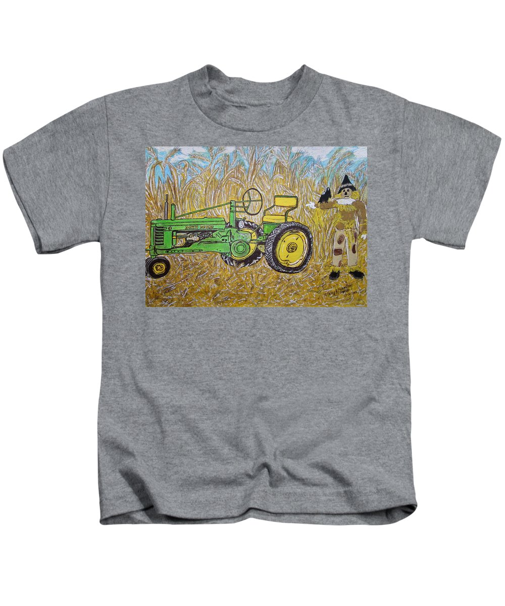 John Deere Kids T-Shirt featuring the painting John Deere Tractor And The Scarecrow by Kathy Marrs Chandler