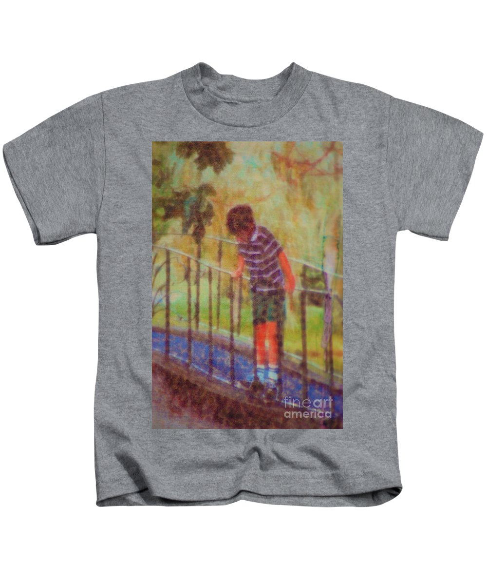 Boy Kids T-Shirt featuring the photograph John's Reflection by Donna Bentley