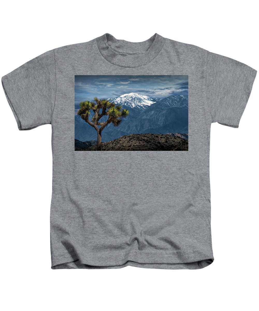 California Kids T-Shirt featuring the photograph Joshua Tree At Keys View In Joshua Park National Park by Randall Nyhof