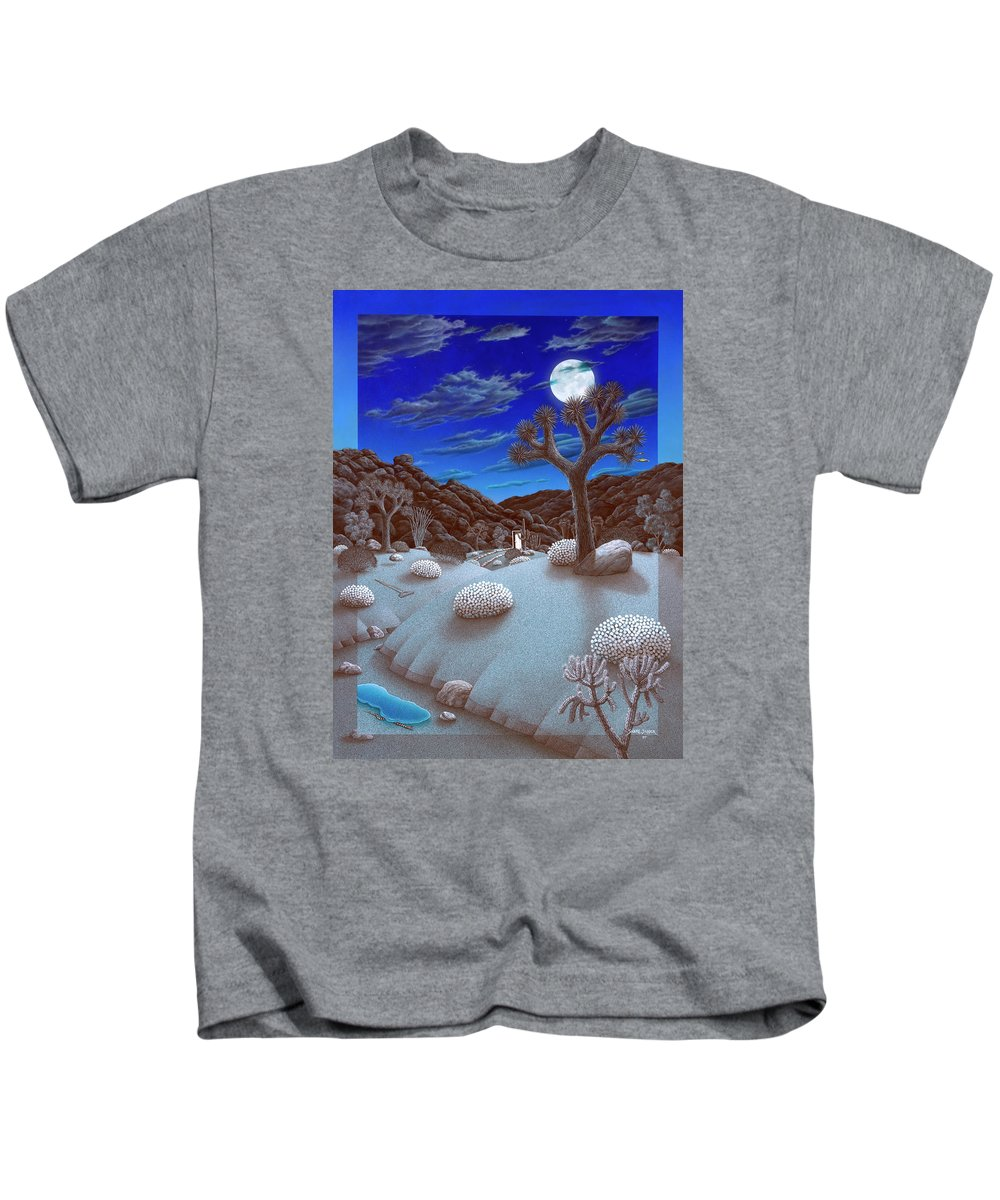 Landscape Kids T-Shirt featuring the painting Joshua Tree At Night by Snake Jagger