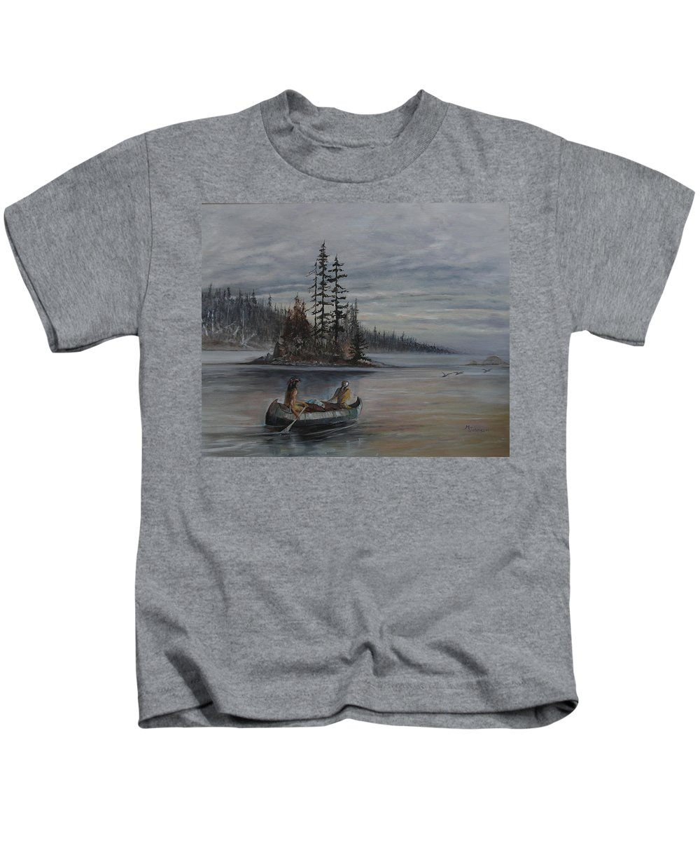 First Nation Kids T-Shirt featuring the painting Journey - Lmj by Ruth Kamenev