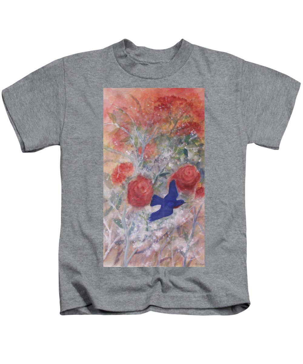 Bluebirds Kids T-Shirt featuring the painting Joy Of Spring by Ben Kiger