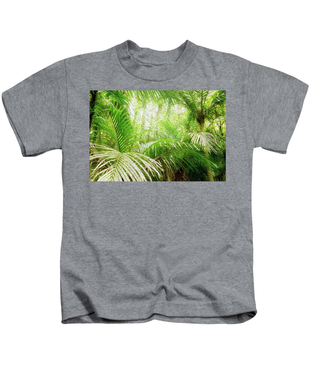 Fern Kids T-Shirt featuring the digital art Jungle Abstract 1 by Les Cunliffe