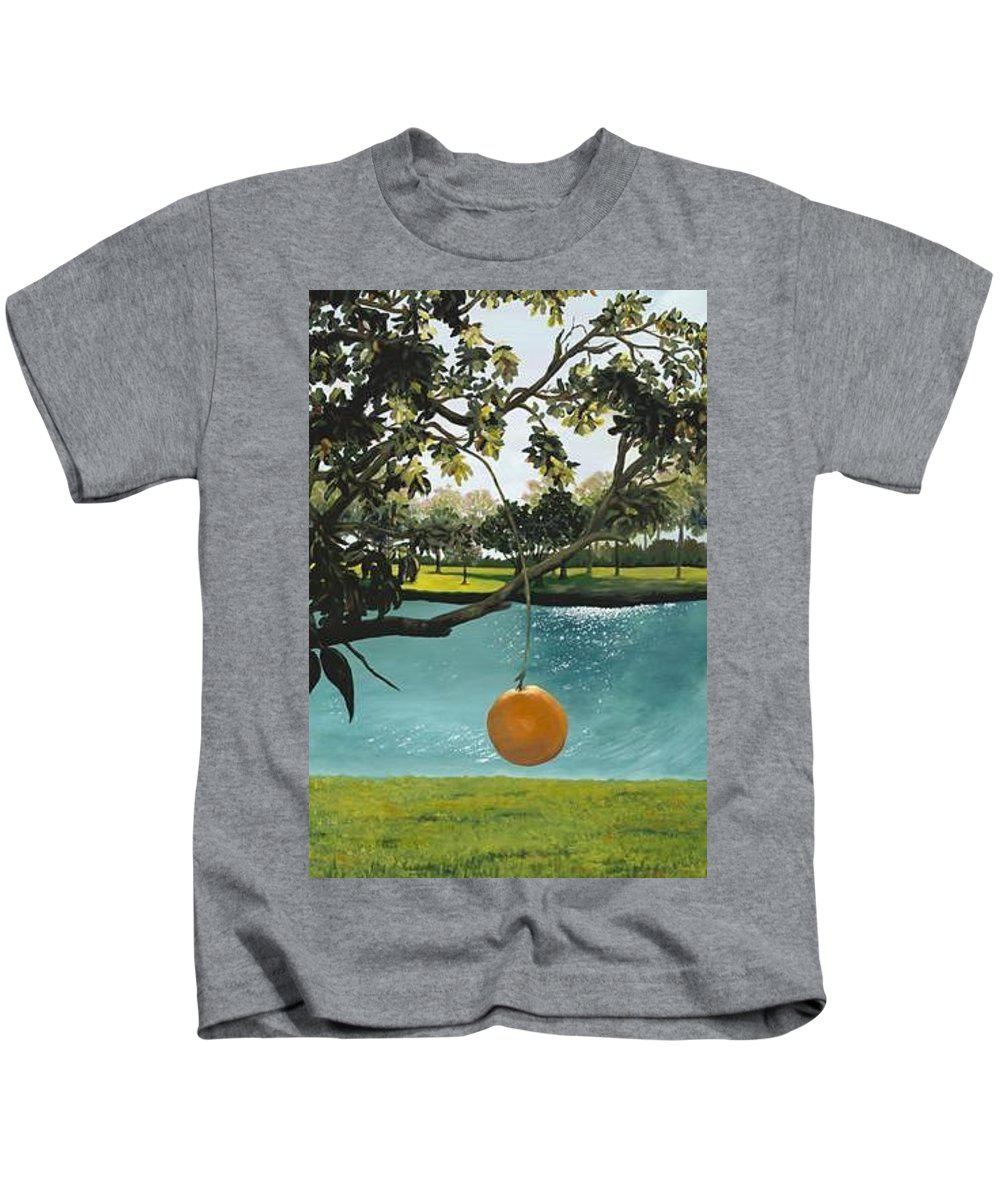 Orange Kids T-Shirt featuring the painting Just Hanging by Esther Gordon