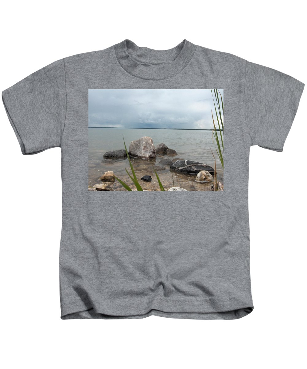 Rocks Water Lake Sky Nature Clouds Kids T-Shirt featuring the photograph Just Rocks by Andrea Lawrence