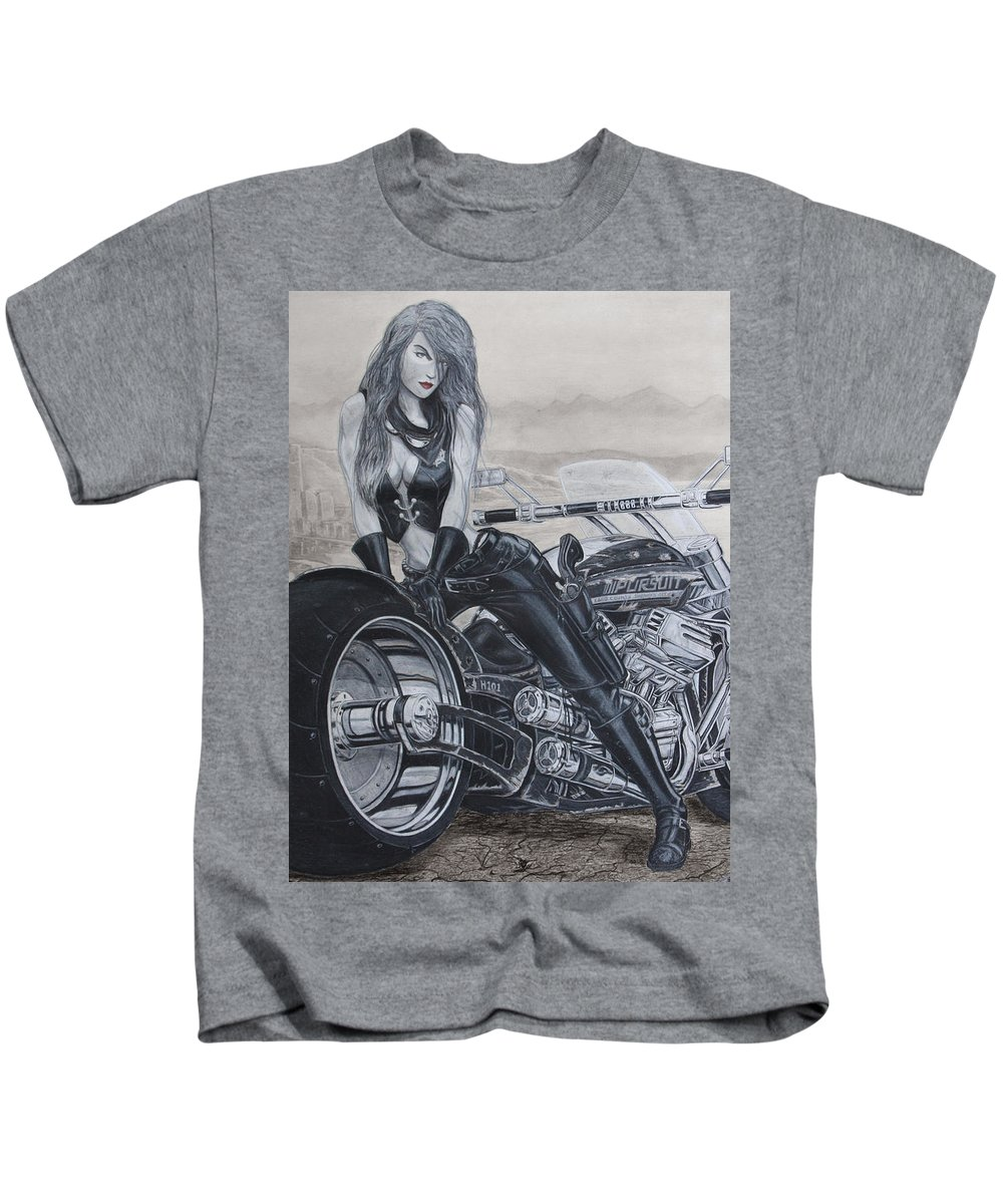 #bike Kids T-Shirt featuring the drawing Justice by Kristopher VonKaufman