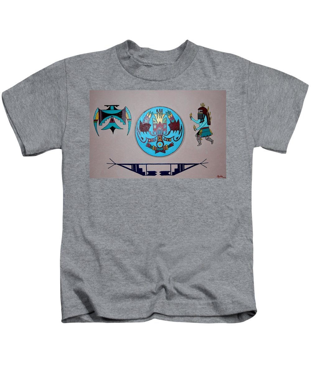 Native American Art Kids T-Shirt featuring the painting Kachina Dance by Marco Morales