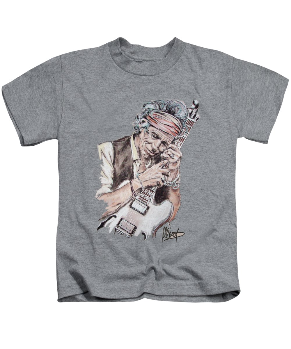 Keith Richards Kids T-Shirt featuring the painting Keith by Melanie D