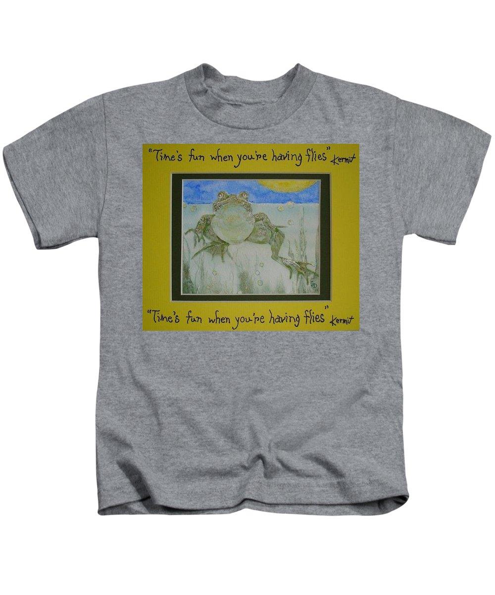 Kermit Kids T-Shirt featuring the painting Kermit Sez by Georgia Donovan