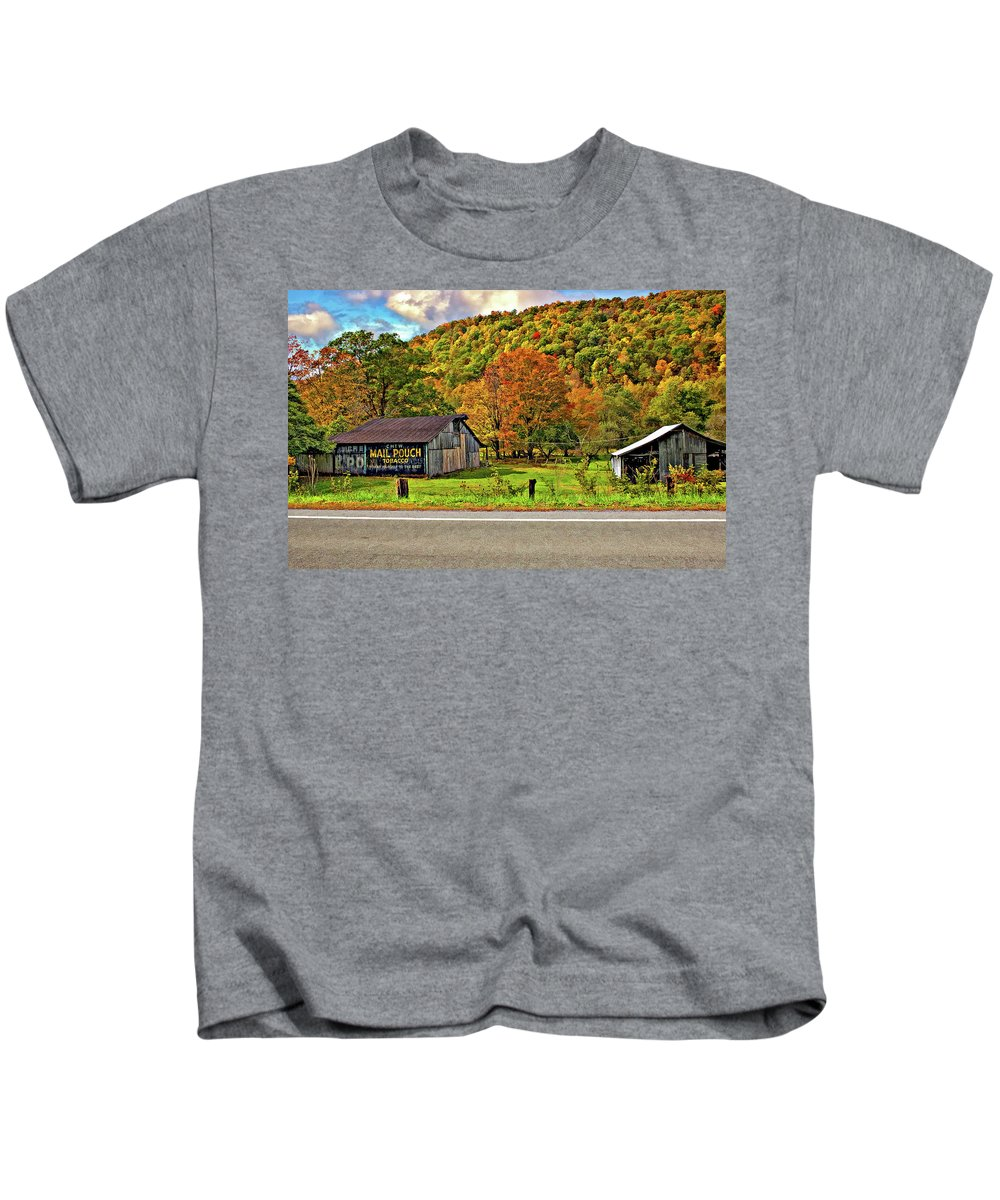 West Virginia Kids T-Shirt featuring the photograph Kindred Barns by Steve Harrington