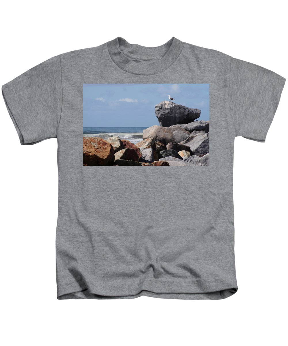 Beach Kids T-Shirt featuring the photograph King Of The Rocks by Margie Wildblood