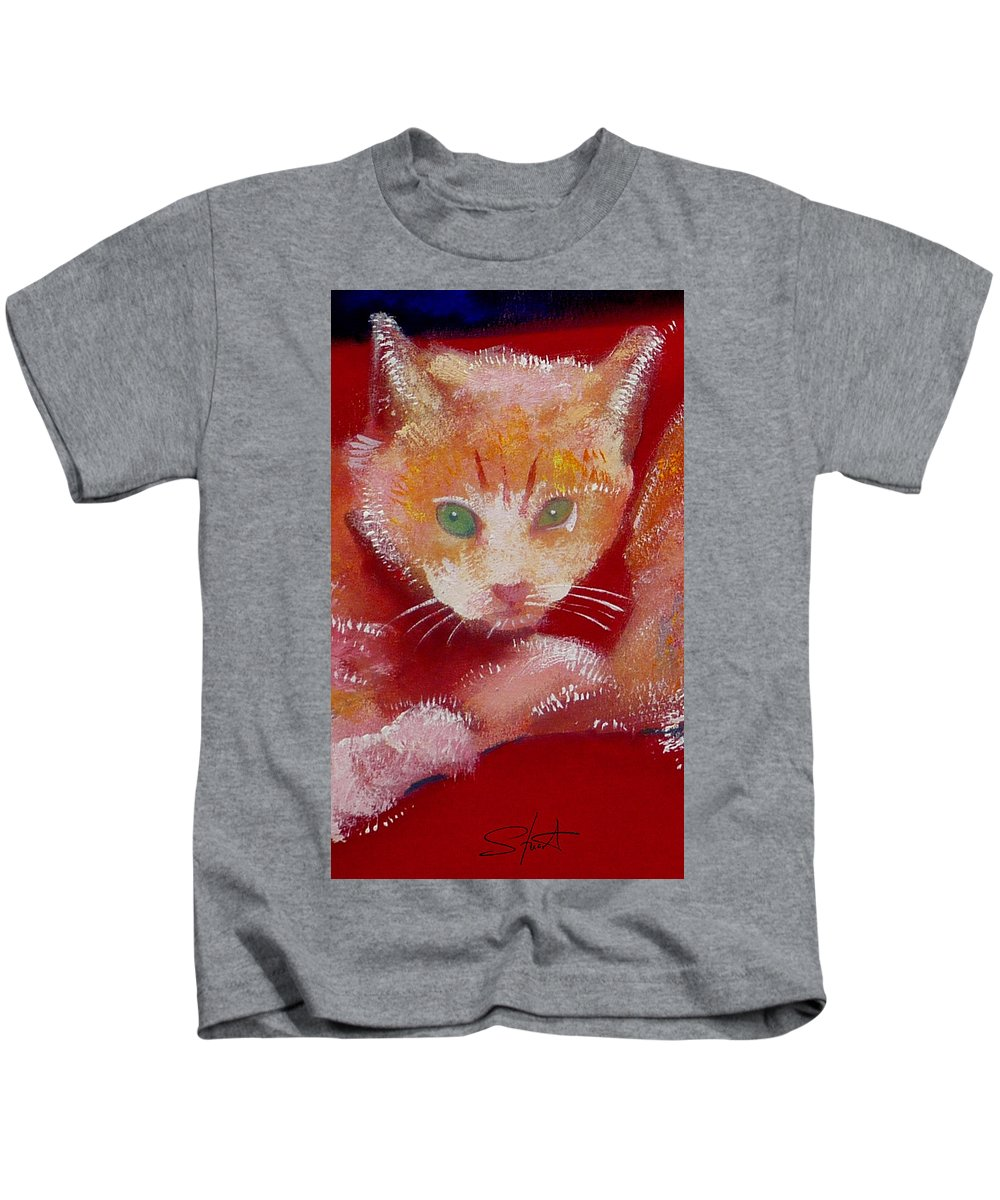 Kittens Kids T-Shirt featuring the painting Kitten by Charles Stuart