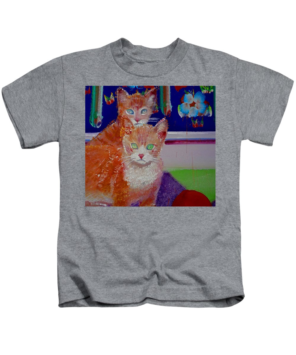 Kittens Kids T-Shirt featuring the painting Kittens With Wild Wallpaper by Charles Stuart