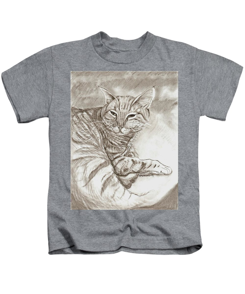 Cat Kids T-Shirt featuring the drawing Kitty Cat by Americo Salazar