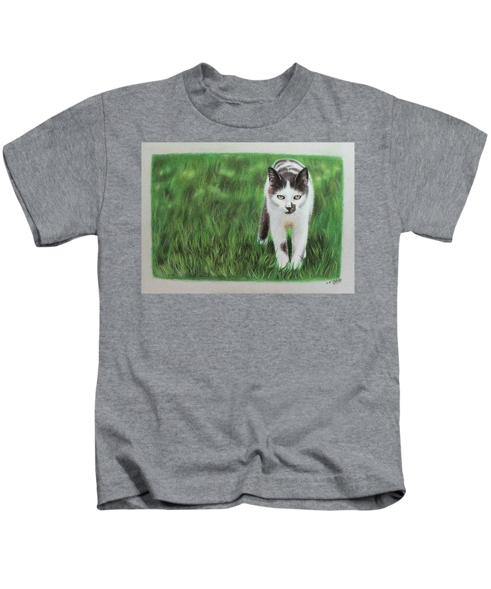 Cat Kids T-Shirt featuring the drawing Kitty Grass by Denise Nijs