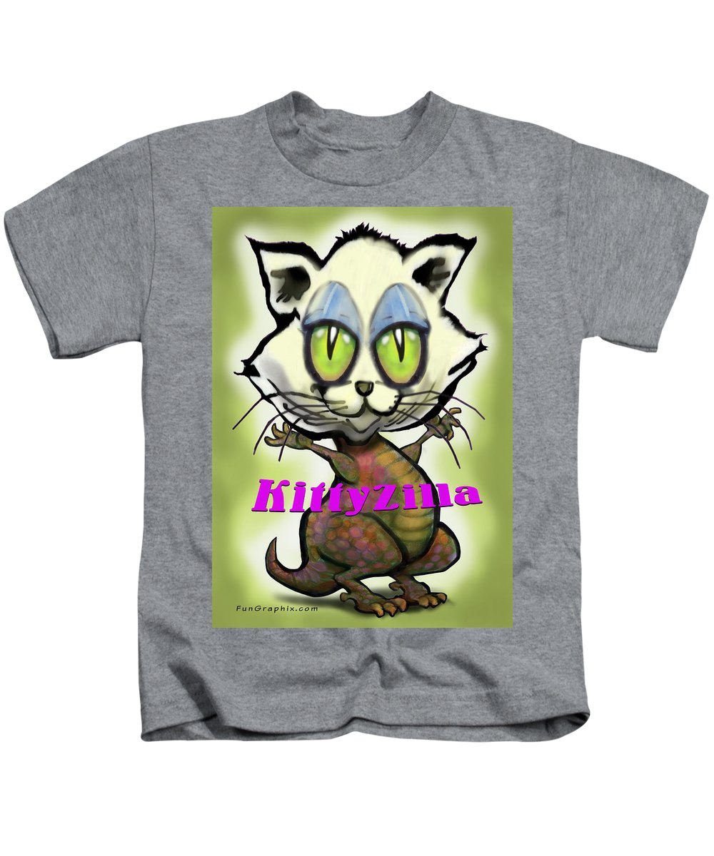 Kittyzilla Kids T-Shirt featuring the greeting card Kittyzilla by Kevin Middleton