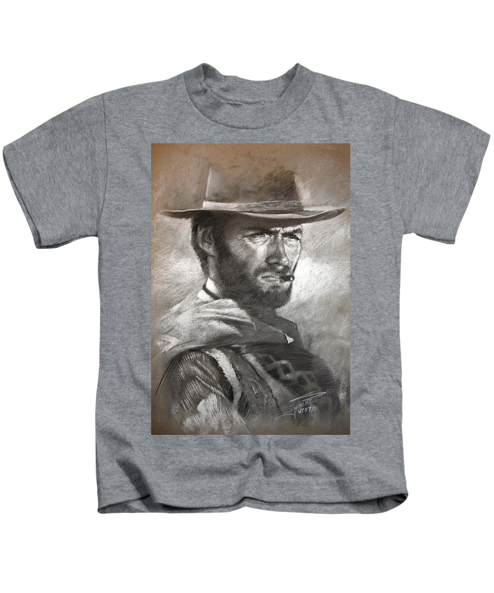 Portrait Kids T-Shirt featuring the drawing Klint Eastwood by Ylli Haruni