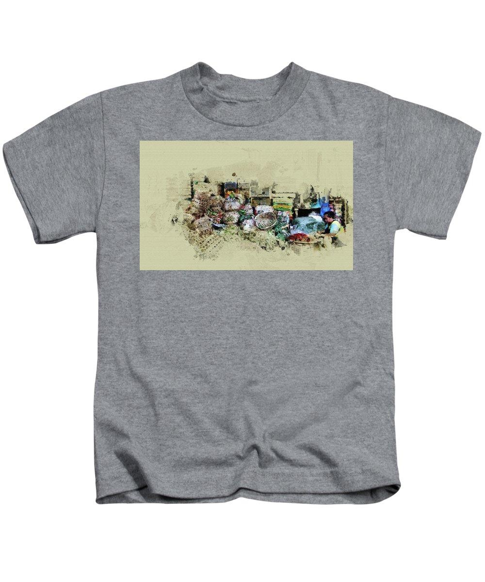 Home Art Kids T-Shirt featuring the digital art Klong Toey Market In Bangkok, Thailand by Don Kuing