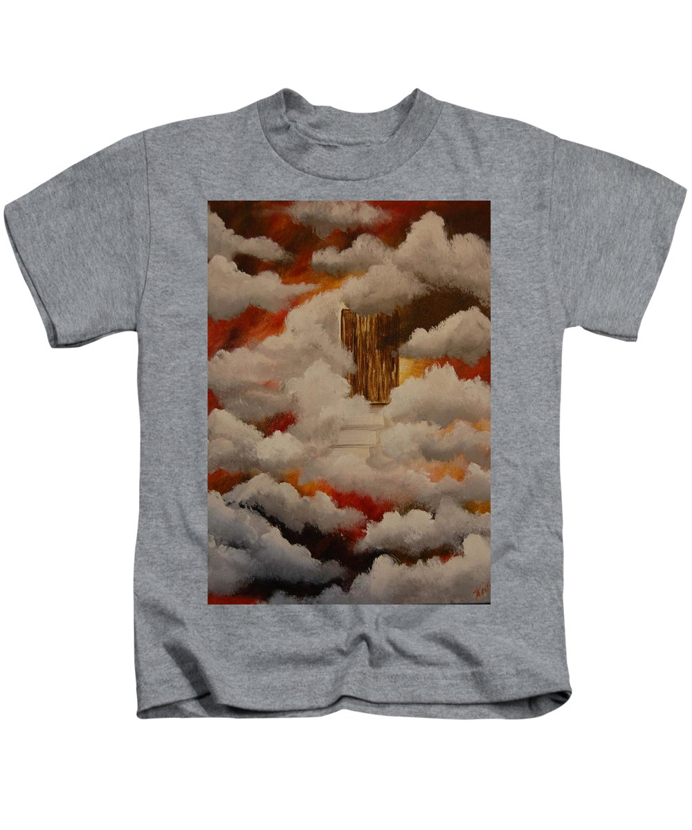 Acrylic Artwork Kids T-Shirt featuring the painting Knock And The Door Will Open by Laurie Kidd
