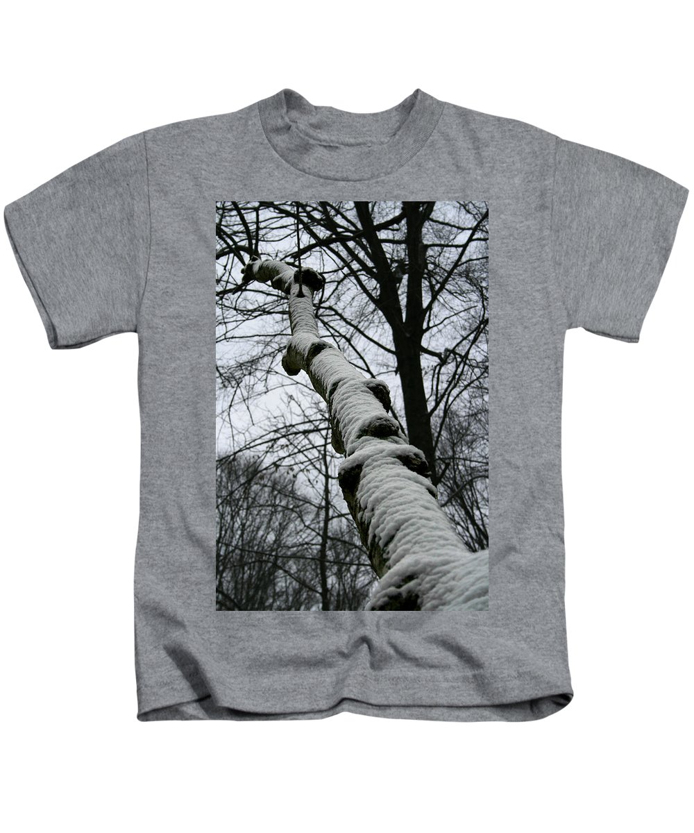 Nature Winter Snow White Cold Quite Peaceful Forest Woods Tree Cover Grey Knot Outdoor Kids T-Shirt featuring the photograph Knoted by Andrei Shliakhau