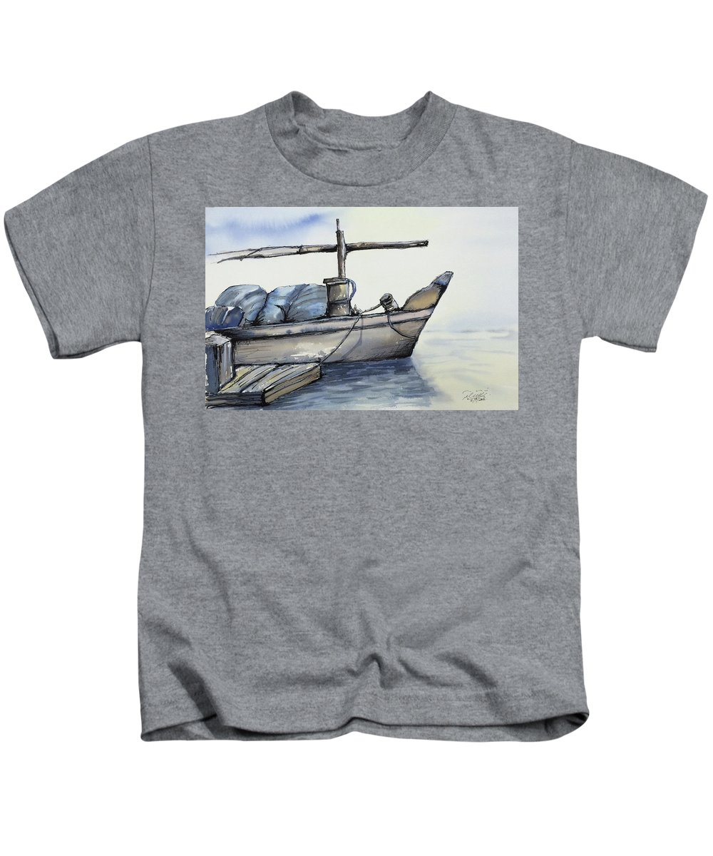 Kuwait Kids T-Shirt featuring the painting Kuwaiti Dhow Boat by Saqib Akhtar