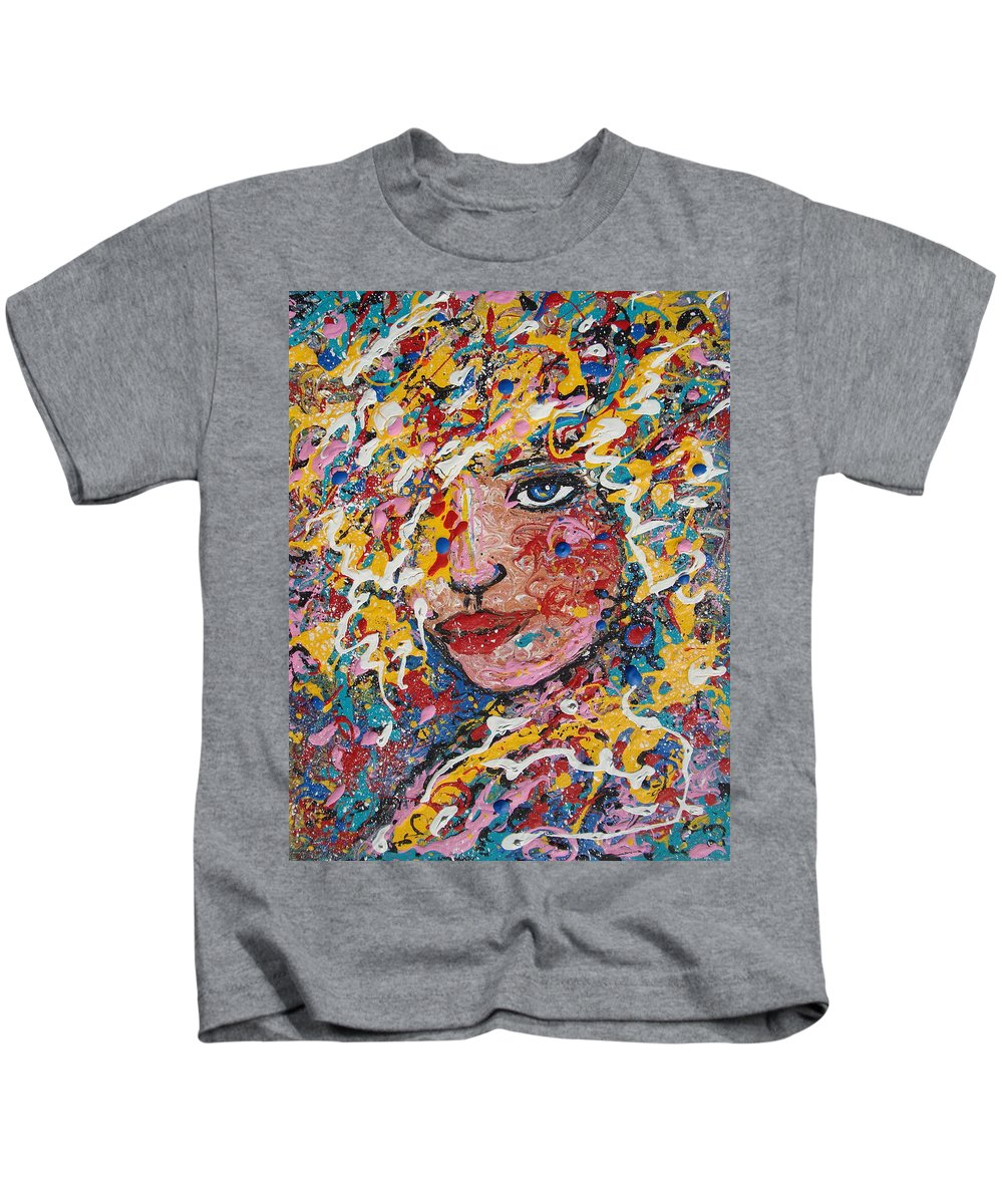 Woman Kids T-Shirt featuring the painting Kuziana by Natalie Holland