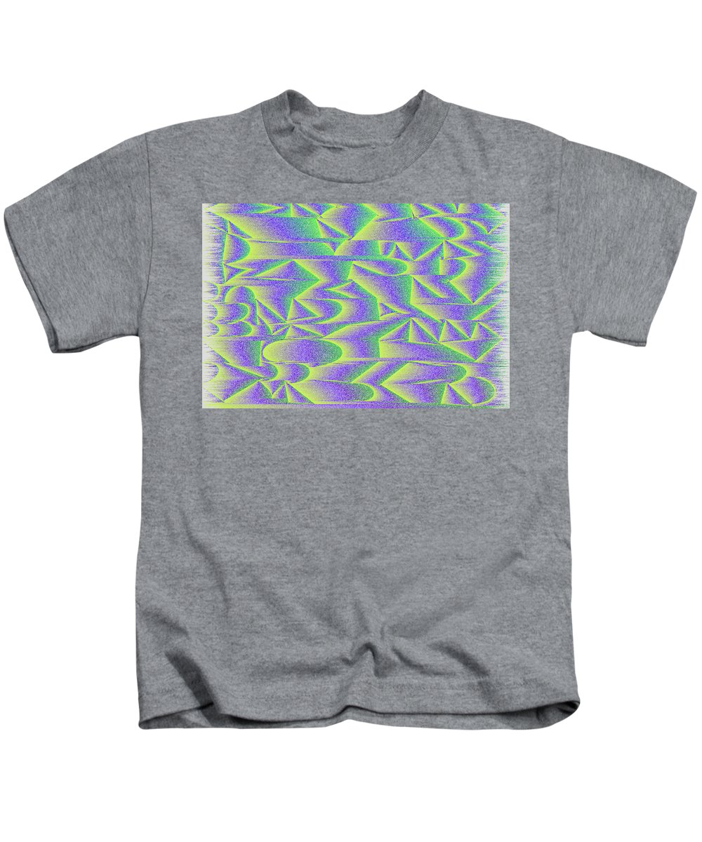 Rithmart Abstract Digital Computer Generated Organic Random Iterative Recursive Algorithm Changing Color Colors Determined Different Drawing Drawn Gradually Image Images Line Lines Made One Randomly Series Shaded Shape Using Kids T-Shirt featuring the digital art l15-00FFBD-3x2-1800x1200 by Gareth Lewis